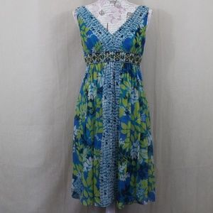 Adrianna Papell Blue & Green Floral Beaded Dress
